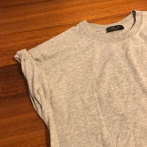 Topshop heather gray tee with roll up sleeves